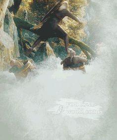 The Hobbit | Legolas  That's how you surf a dwarf!! :)