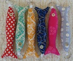 Portuguese sardine key rings in bright fun fabrics.