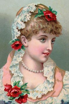 Victorian Lady With A Pearl Necklace - New 4x6 Photo Print - TC006
