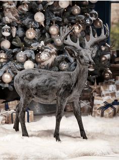 Gilt Greywash Standing Deer