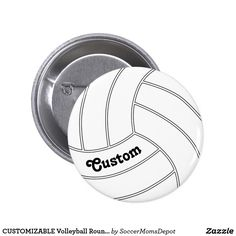 CUSTOMIZABLE Volleyball Round Button Pin - Type in any text - player name, team name, slogan, etc. - to personalize it! #volleyball #tournament #sports