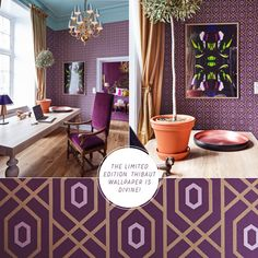 Purple Colour Ideas: Mikado Suite, Grand Hotel - Bright Bazaar by Will Taylor Rose Gold Rooms, Purple Rooms, House Color Schemes, House Colors, Purple And Gold Wallpaper, Plum Walls, Plum Bedding, Gold Office Decor, Gold Interior