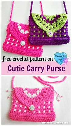 Crochet Handbags Cutie Carry Purse - free crochet pattern - This Cutie Carry Purse would be great for girls. And perfectly fit to carry your phone and other small goodies when you go out. Purse Patterns Free, Crochet Purse Patterns, Bag Pattern Free, Handbag Patterns, Crochet Toddler, Crochet Girls, Crochet For Kids, Easy Crochet, Crochet Handbags