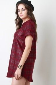 Free SH & Easy Returns! Shop Plaid Rolled Sleeves T-Shirt Dress. This t-shirt dress features a plaid print, crew neckline, short rolled sleeves, and round hemline finish.