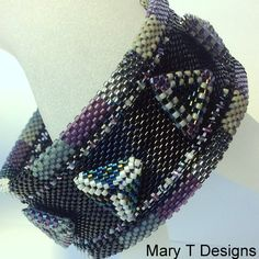 OtherWorldly Beadwoven Bangle Cuff Bracelet...EBW by MaryTDesigns