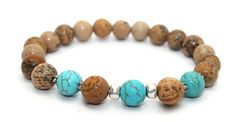 Gorgeous Picture Jasper, Turquoise Magnesite and Silver Accents Stretch Bracelet | AyaDesigns - Jewelry on ArtFire