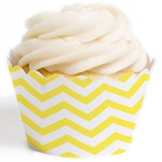 Yellow Chevron Cupcake Wrappers
