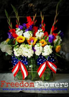 Freedom Flowers, 4th of July Floral Display