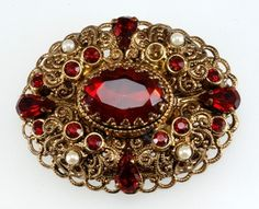 Vintage Costume Jewelry Price Guide: West Germany Red Rhinestone and Pearl Pin