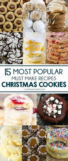 Popular Christmas Cookies Recipes to try with the kids and family. Everyone raves how delicious these classic holiday cookies recipes are. Serve at your party, make with the kids, or share with Santa. Stock your cookie box with these must make Christmas c Classic Christmas Cookie Recipe, Easy Christmas Cookie Recipes, Best Christmas Cookies, Xmas Cookies, Christmas Cooking, Easy Cookie Recipes, Yummy Cookies, Christmas Treats, Thumbprint Cookies