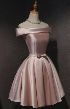 Cute Pink Satin Off Shoulder Knee Length Formal Dress, Lovely Prom Dress 2019 Cute Pink Satin Off Shoulder Knee Length Formal Dress, Lovely Prom Dre – BeautyDressy Cute Formal Dresses, Cute Dresses For Party, Pretty Prom Dresses, Elegant Dresses, Pretty Outfits, Beautiful Dresses, Party Dress, Dresses For Parties, Casual Dresses