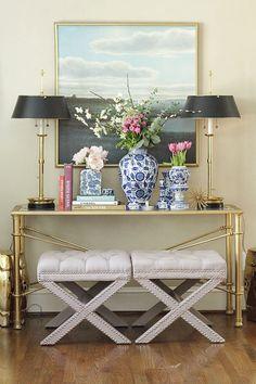 Vignette   X Benches   Brass Lamps   Blue and White   Landscape painting   Fresh Flowers   Formal Living Room www.charmingincharlotte.com