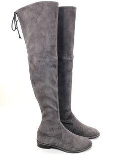 Stuart Weitzman Lowland Londra Gray Suede Flat Over The Knee Boots Womens Sz 6.5  | eBay