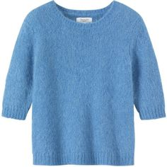 Toast Ylva Sweater ($50) ❤ liked on Polyvore featuring tops, sweaters, cornflower blue, elbow sleeve tops, elbow length tops, elbow length sleeve tops, half sleeve sweater and half sleeve tops