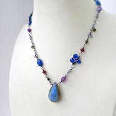 Labradorite Silver Necklace, Blue Kyanite Purple Amethyst Pink Garnet Wire Wrapped Pendant - Nautica
