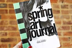 love the black letters on a b photo background as a journal cover, the striped masking tape binding adds visual interest ~ journal project from Elsie of A Beautiful Mess blog