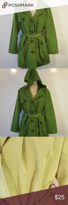 Esprit L Green Jacket Esprit brand. Size L. Green. Discrepancies in photos. Worn twice, once in the rain and it kept me dry. Has tie around. Cute big buttons.  🐘 nonsmoking home Esprit Jackets & Coats