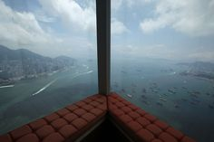A window view overlooks the Victoria Harbour from a junior suite located on the floor of the Ritz-Carlton Hotel in the International Commerce Center (ICC), the world& fourth tallest building, in Hong Kong, on May International Commerce Centre, Victoria Harbour, Window View, Urban Landscape, Big Picture, Rooftop, Airplane View, Hong Kong, World