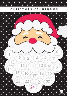 easy advent calendar, glue cotton balls to santa's beard Christmas Crafts For Kids, Christmas Activities, Xmas Crafts, Christmas Printables, Christmas Holidays, Christmas Decorations, Christmas Ornaments, Christmas Countdown, Spanish Christmas
