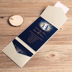 love birds in moonlight silver pocket wedding invitation kits EWPI039 as low as $1.69