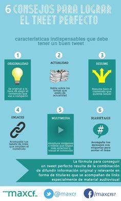 6 consejos para conseguir el tuit perfecto. Infografía en español. #CommunityManager