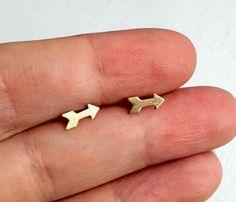 Tiny Brass Arrow Studs