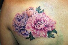 realistic peony flower tattoo