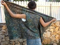 Nuno Felted Vest / Wrap with Brooch by FeltOx on Etsy