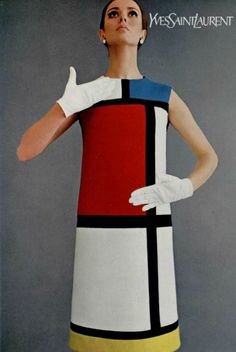 1965 Yves Saint Laurent, Mondrian Dress Gave new ideas to the type of clothing wearable for women along with new color pallets.