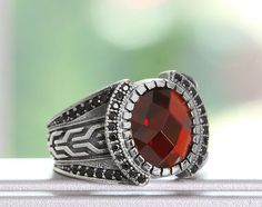 MEN's Ring Sterling Silver 925 K with Red Quartz $54.90