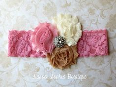Vintage Dusty Rose Shabby Headband Photo by HarperSophiaBoutique, $11.25