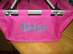 personalized pink mini market tote $30