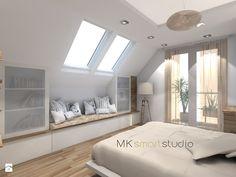 Sypialnia w stylu skandynawskim - Średnia sypialnia małżeńska na poddaszu, styl skandynawski - zdjęcie od MKsmartstudio