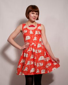 Kitty and Hearts Valentines Dress Clothes Rail, Pet Clothes, Cat Dresses, Summer Dresses, Valentines Day Dresses, Miss Kitty, Printed Dresses, Cute Fashion, Dress Making