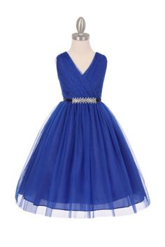 Royal+Blue+Tulle+V-Neck+with+Removable+Rhinestone+Grossgrain+Tape+Sash+Flower+Girl+Dress+CC-1220BT1-RB+on+www.GirlsDressLine.Com