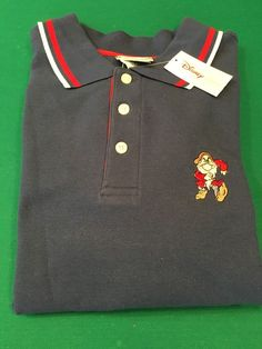 Men's Disney GRUMPY Golf Shirt - Disney Store Navy Blue Textured - NEW - Size M #Disney #PoloRugby