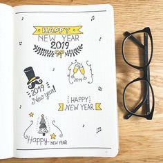 Happy New Year doodles 🥂🍀 via Bujo, New Year Doodle, Bullet Journal Christmas, Planner Doodles, Bullet Journal Notes, Planner Book, Happy New Year 2019, My Themes, Cover Pages