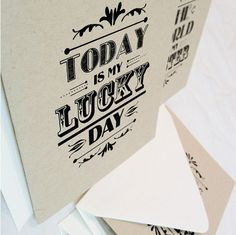 """""""The World is My Oyster"""" and """"Today is My Lucky Day"""" typographic cards on Etsy via n2design! #n2design"""