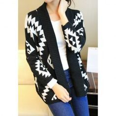 $9.49 Color Block Long Sleeves Acrylic Retro Style Cardigan For Women