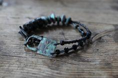 Algiz rune bracelet protective rune bracelet black and by solekoru