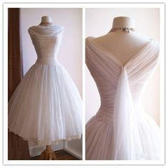 Vintage 1950's Tea Length  Wedding Dresses Scoop Neck Chiffon Full Skirt Bridal Gowns Little White Dress 2016 Vestidos de Novia-in Wedding Dresses from Weddings & Events on Aliexpress.com | Alibaba Group