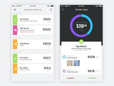 A redesign of an expense approval app.