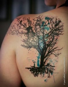 trash polka tree tattoos at DuckDuckGo Modern Tattoos, Trendy Tattoos, Rose Tattoos, New Tattoos, Big Tattoo Planet, Watercolor Tattoo Tree, Natur Tattoos, Aquarell Tattoos, Tattoo Zeichnungen