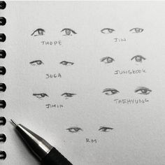 Ideas For Eye Drawing Reference Asian Drawing Techniques, Drawing Tips, Drawing Sketches, Drawing Ideas, Art Reference Poses, Drawing Reference, Design Reference, Bts Eyes, Kpop Drawings