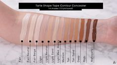 Post with 11811 views. NARS Soft Matte Complete Concealer and Tarte Shape Tape full range swatch by Karima McKimmie Shape Tape Concealer Swatches, Makeup Swatches, Tapas, Makeup App, Makeup Tools, Beauty Box Subscriptions, In Cosmetics, Highlights, Shopping