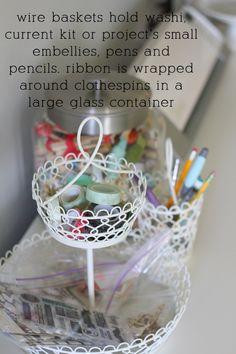 wire baskets hold small items in @Nicole Novembrino Samuels' scrap room.