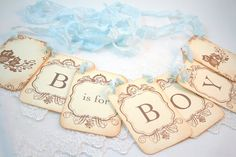 B is for Boy Banner Owl Garland Baby by SeasonalDelightsBaby, $22.75