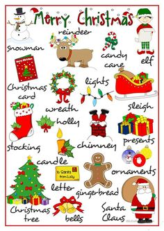 Merry Christmas - pictionary worksheet - Free ESL printable worksheets made by teachers Merry Christmas, English Christmas, Christmas Words, Christmas Games, Christmas Activities, Christmas Crafts, English Tips, English Lessons, Learn English