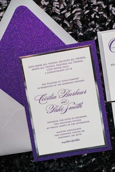 DIANE Suite Fancy Glitter Package, purple and silver wedding invitation, glitter envelope liners, fancy glitter wedding invitations