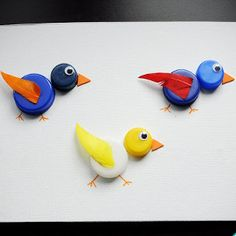 Bottle Cap Birdies | AllFreeKidsCrafts.com